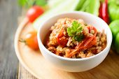 Spicy Chili Minced Pork With Tomatoes (nam Prik Ong) Eating With Fresh Vegetables, Thai Chili Paste, poster