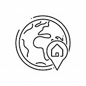 Black Line Icon For Global-real-estate-location Global Real Estate Location Navigation poster