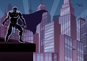 foto of mantle  - Superhero watching over the city. 