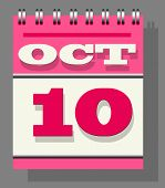 Daily Single-leaf Calendar Pink Spine With The Open Page Of 10Th October, Indication, And Remembranc poster