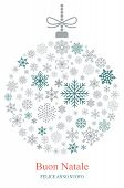 Christmas Bauble Vector With Snowflakes And Italian Christmas Greetings On White Background. Transla poster
