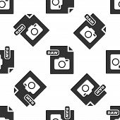 Grey Raw File Document. Download Raw Button Icon Isolated Seamless Pattern On White Background. Raw  poster