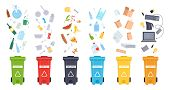 Trash Containers. Organic, E-waste, Plastic, Paper, Glass And Metal Trash Containers. Recycling Garb poster