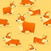 Puppy Corgi Dog Pattern. Cartoon Illustration Of Puppy Corgi Dog Vector Pattern For Web Design poster