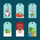 Christmas Gift Tags Template Set. Christmas Tags With Cute Gnome With Lettering. poster