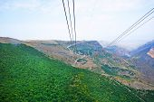 foto of ropeway  - Landscape view from ropeway altitude in Armenia - JPG