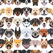 Illustration Seamless Pattern Happy Dogs poster