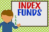 Word Writing Text Index Funds. Business Concept For Mutual Fund Built To Match The Stocks Of A Marke poster