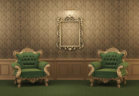 foto of pompous  - Armchairs and Empty golden frame on a wall - JPG