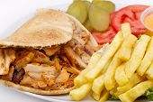 stock photo of shawarma  - Chicken Kebab Shawarma Plate isolated on white - JPG