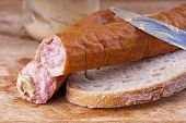 Pork Sausage With Bread And Mustard