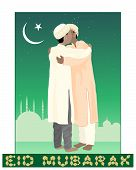 image of salwar  - an illustration of of two muslims greeting each other in the festival of eid mubarak with mosque background under a starry sky and crescent moon - JPG