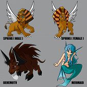 picture of behemoth  - 4 Graphic vector set of mythical creatures - JPG