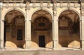 pic of pilaster  - Interior of the Archiginnasio of Bologna - JPG