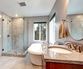 picture of bathroom sink  - Beautiful grey new modern bathroom interior with glass shower and tub - JPG