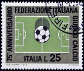 A stamp printed in Italy shows Football Field