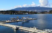 picture of float-plane  - Three float planes docked in a harbour - JPG