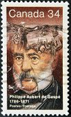stamp printed in Canada shows Philippe Aubert de Gaspe Novelist