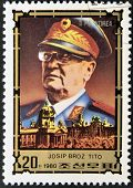 stamp printed in Russia shows the portrait of a Josip Brozl Tito