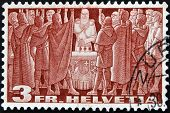 SWITZERLAND - CIRCA 1938: A stamp printed in Switzerland shows medieval knights, circa 1938