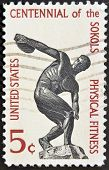 Discus thrower centenary of founding Sokol athletic organization in America