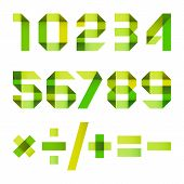 picture of arabic numerals  - Spectral numbers folded of paper red ribbon  - JPG