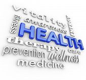 The word Health surrounded by a collage of words related to healthcare such as fitness, therapy, pre