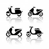 image of vespa  - Set of transport icons  - JPG