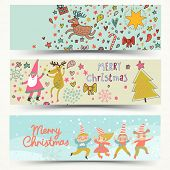 stock photo of elf  - Three awesome New Year and Christmas cards in vector - JPG