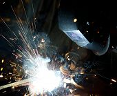pic of manufacturing  - Welders in action with bright sparks - JPG