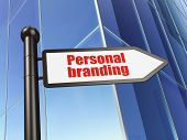 Marketing concept: sign Personal Branding on Building background poster