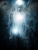 picture of senses  - Man with conceptual spiritual body art - JPG