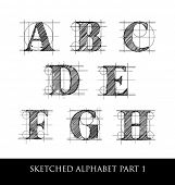 stock photo of hand alphabet  - hand drawn letter set with rules and guidelines - JPG