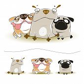 pic of mongrel dog  - Vector illustrations of three cute funny dogs - JPG