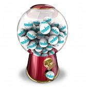 Random Choice of a gumball machine or candy dispenser illustrating the unplanned, indiscriminate odd