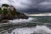 House On Cliffs At Rainstorm (nervi, ,italy)