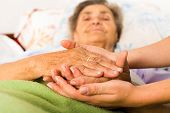 stock photo of elderly  - Caring nurse holding kind elderly lady