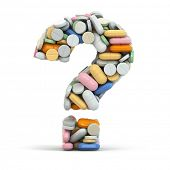 picture of addict  - Pills as question on white isolated background - JPG