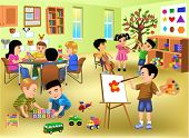 kids doing different activities in kindergarten