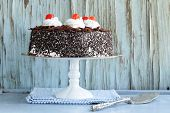 picture of black-cherry  - Chocolate cake with cherries and whipped cream  - JPG