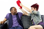 image of bitchy  - black male and caucasian female couple on a couch - JPG
