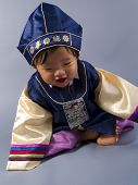 foto of hanbok  - male Korean baby in traditional Hanbok clothing - JPG