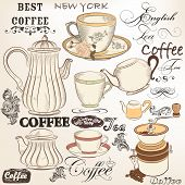 stock photo of teapot  - Vector set of hand drawn elements cups teapots and other for retro design - JPG