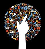Communication in the global computer networks. Silhouette of a man's hands surrounded interface icon