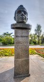 stock photo of yuri  - Bust of the Cosmonaut Yuri Gagarin on Gagarin Street Irkutsk Siberia Russia - JPG