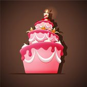 stock photo of cream cake  - Vector illustration of Birthday cake with candle - JPG