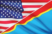 Series Of Ruffled Flags. Usa And Democratic Republic Of The Congo.