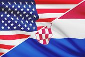 Series Of Ruffled Flags. Usa And Republic Of Croatia.