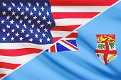 Series Of Ruffled Flags. Usa And Republic Of Fiji.