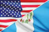 Series Of Ruffled Flags. Usa And Republic Of Republic Of Guatemala.